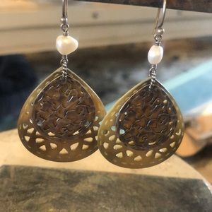 Gorgeous Mother of Pearl Carved Earrings